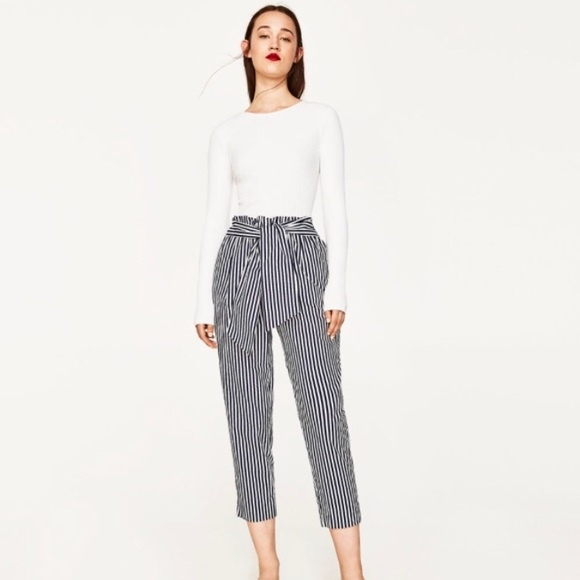 4e19f7ff Zara Pants | Striped Trousers With Belt | Poshmark